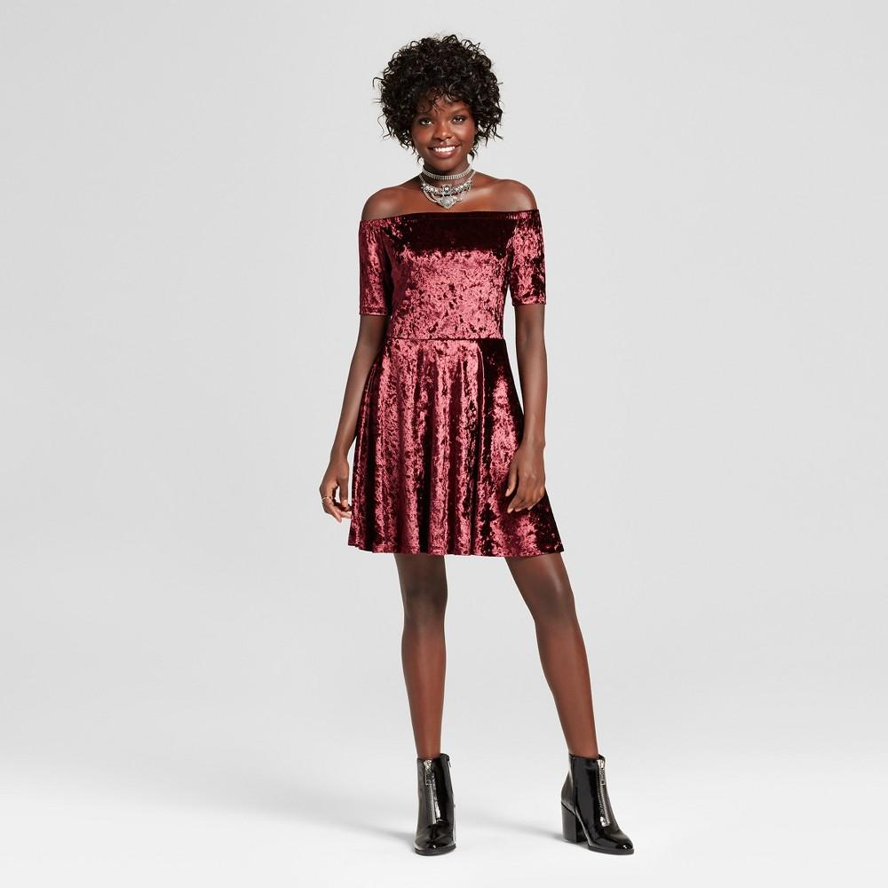 Womens Crushed Velvet Off the Shoulder Dress - Xhilaration (Juniors) Berry S, Red