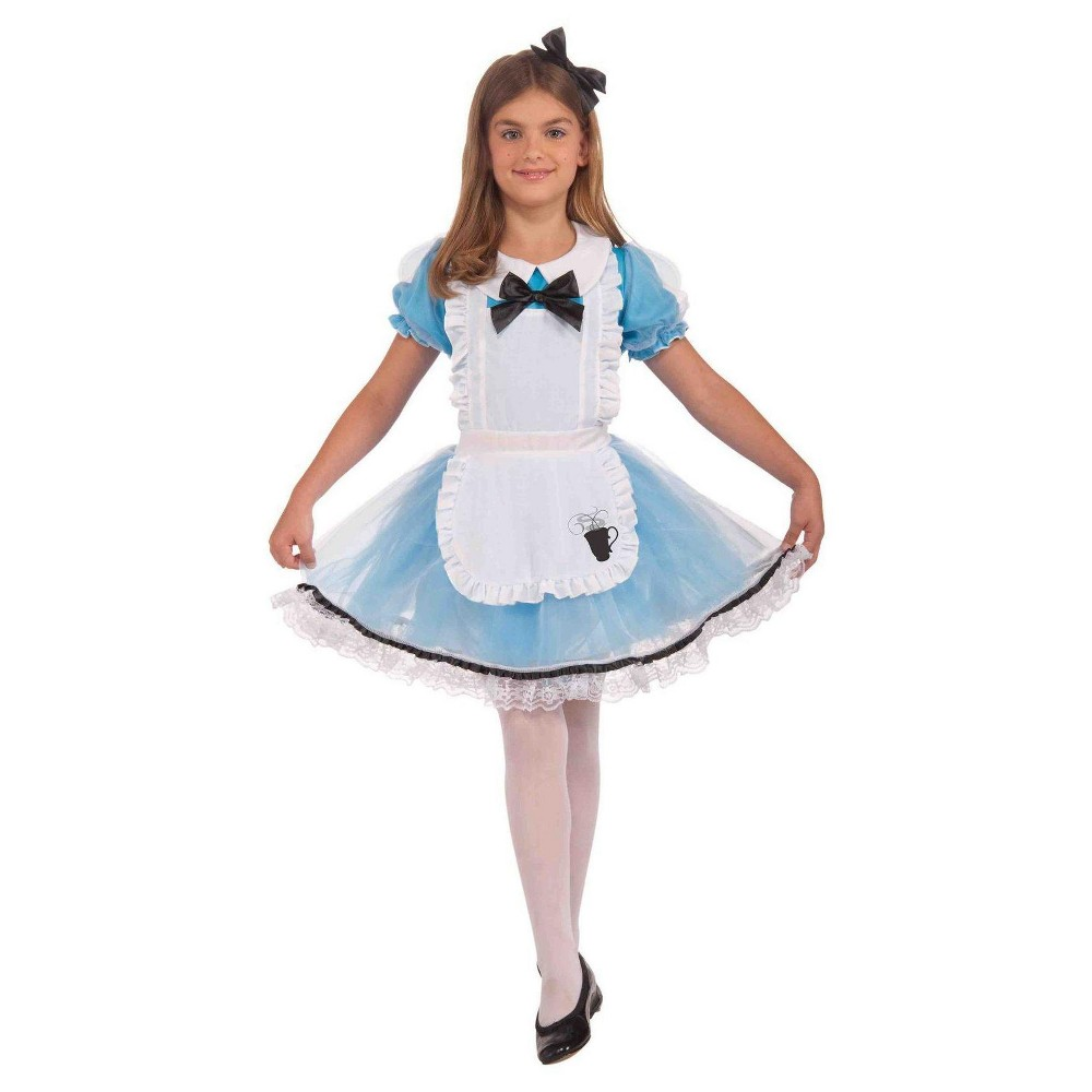 Girls Forum Novelties Alice in Wonderland Costume White/Blue L 12-14, Multicolored