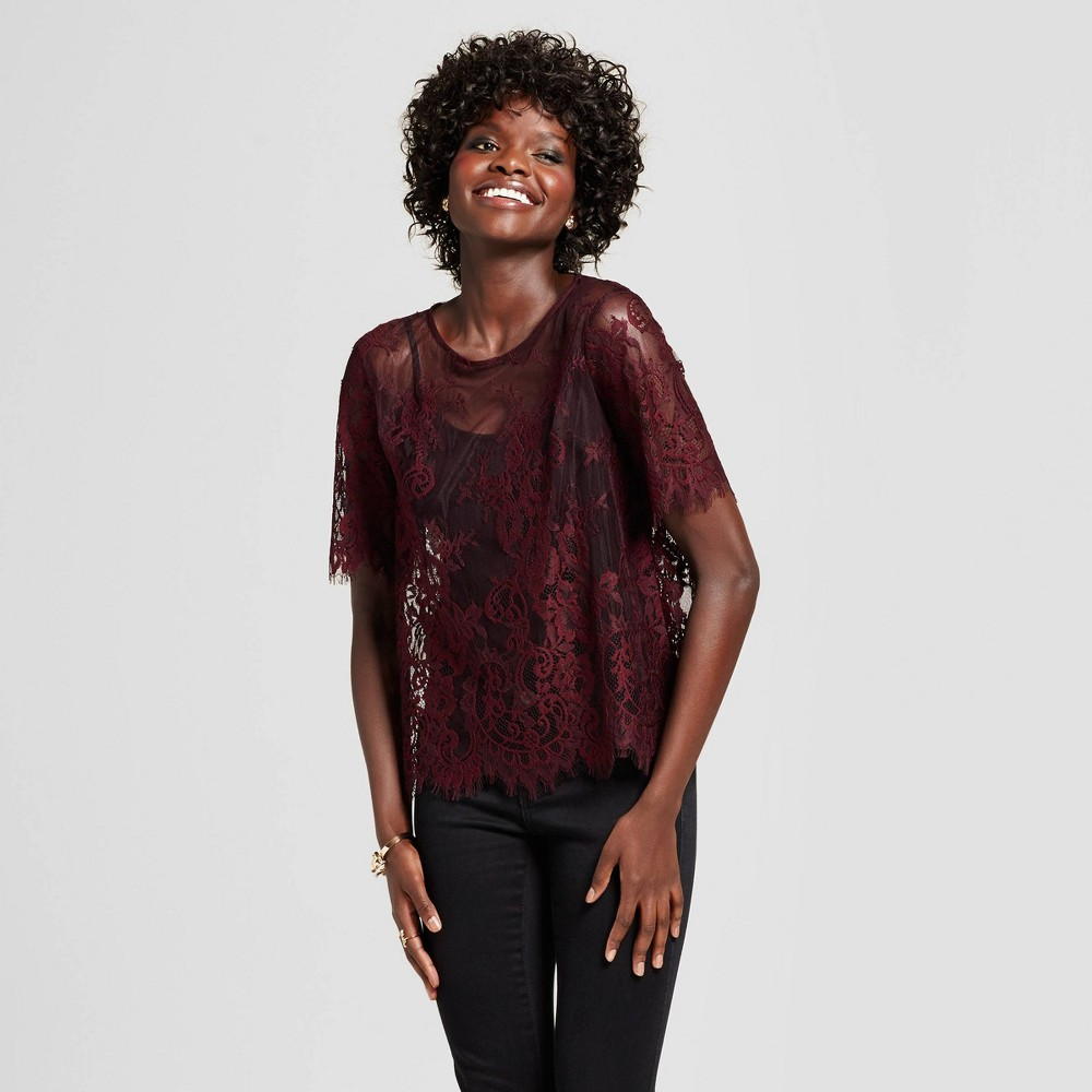 Womens Lace T-Shirt - Xhilaration (Juniors) Berry XS, Red