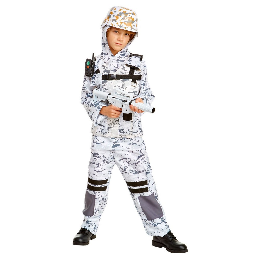 Boys Winter Camo Stealth Soldier Child Costume M(8-10), Multicolored