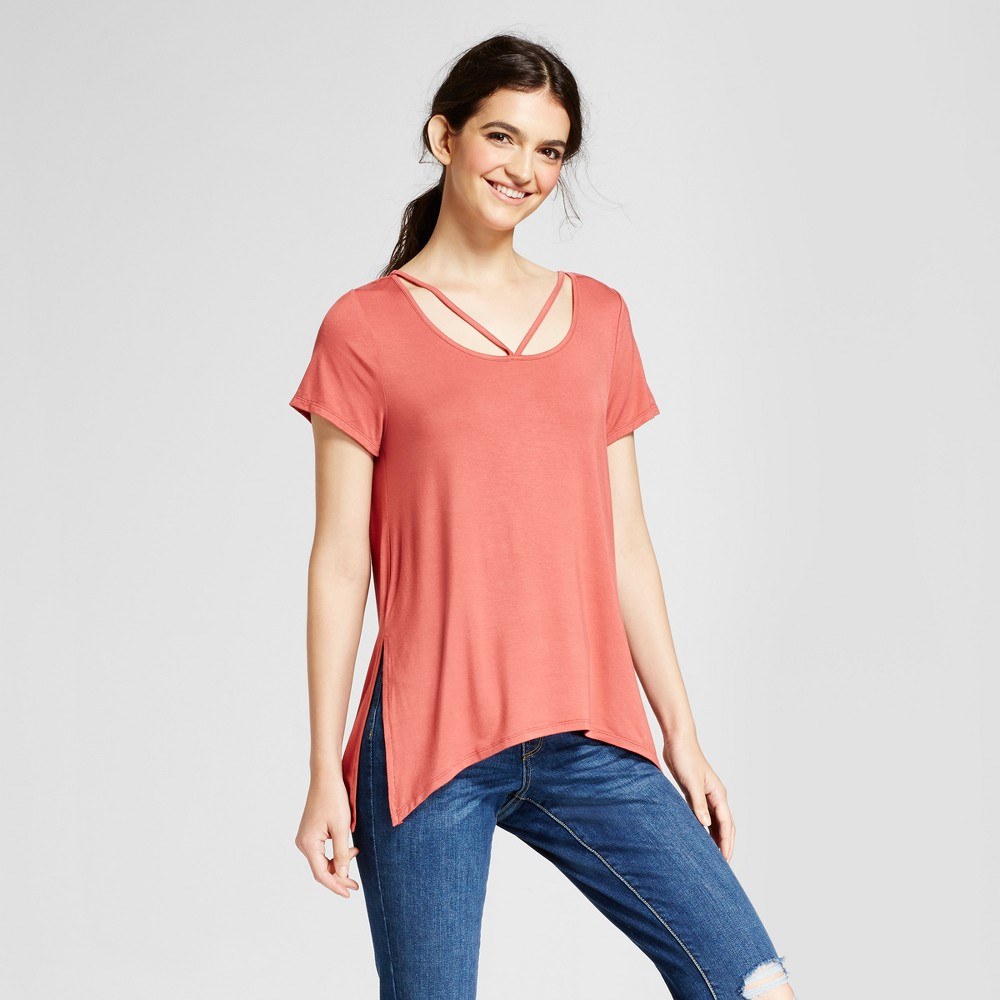 Womens Side-Slit T-Shirt - Mossimo Supply Co. Berry (Pink) XS