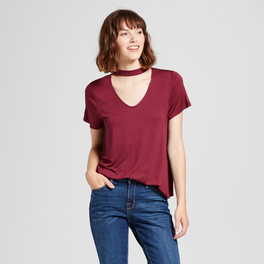 Womens Choker T-Shirt - Mossimo Supply Co. Burgundy (Red) L