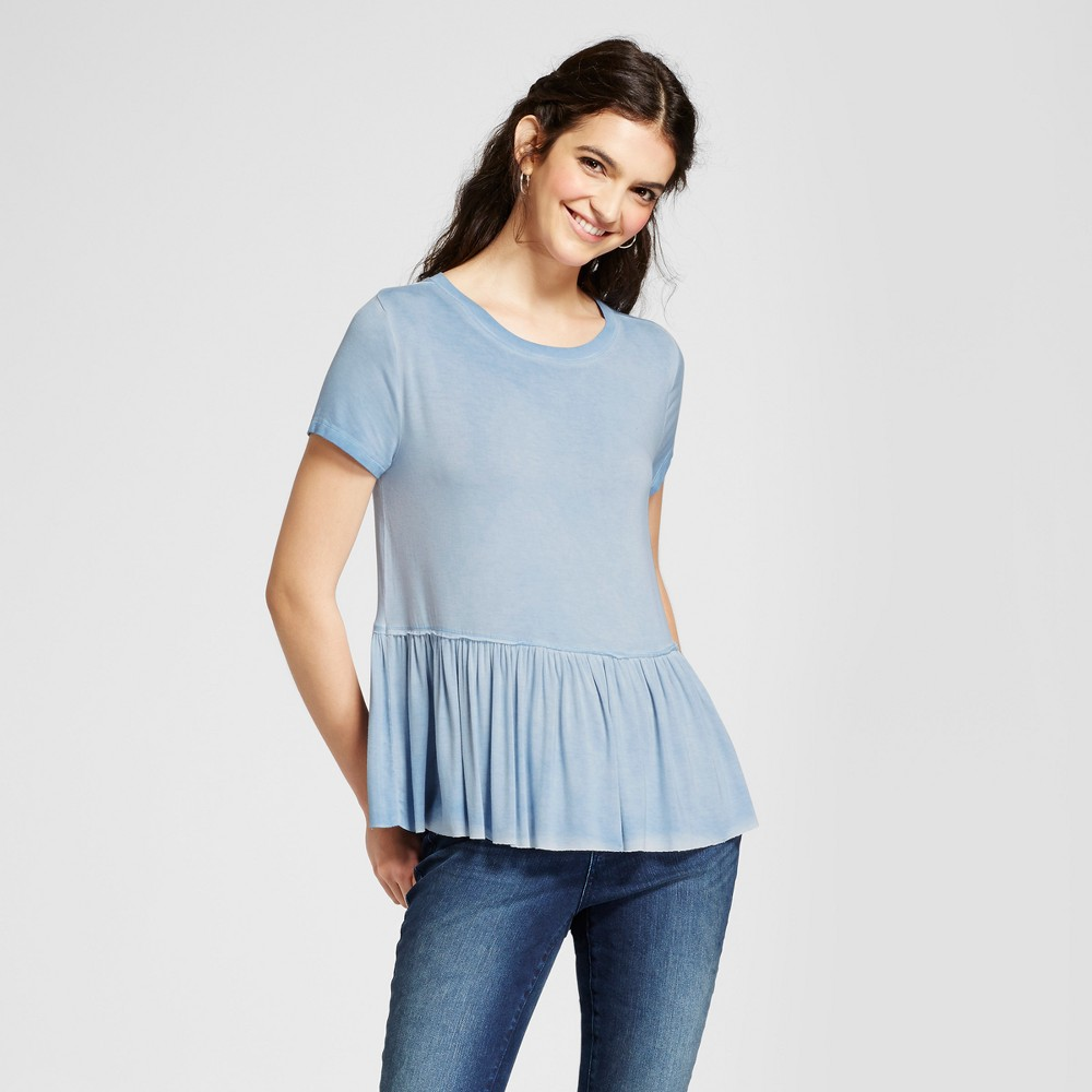 Women's Oversized Peplum T-Shirt - Mossimo Supply Co. Blue XS
