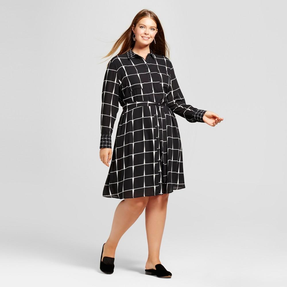 Womens Plus Size Shirtdress - Who What Wear Black Plaid 1X