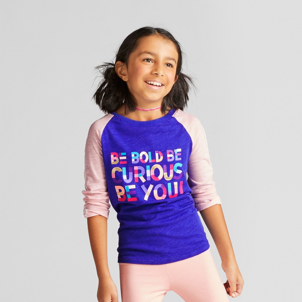 Girls 3/4 Sleeve Baseball T-Shirt - Cat & Jack Blue S