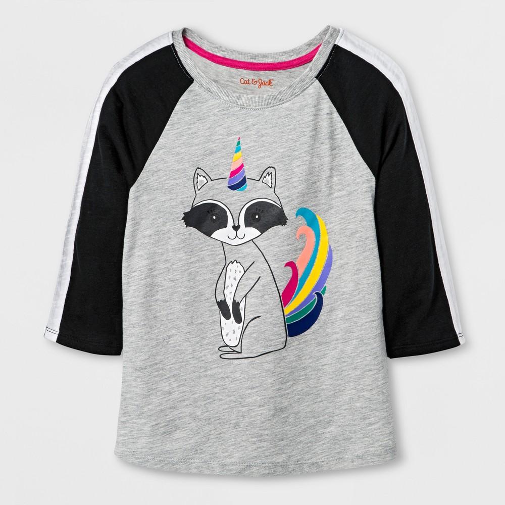 Girls Baseball Raccoon Icon Graphic T-Shirt - Cat & Jack Heather Gray XL
