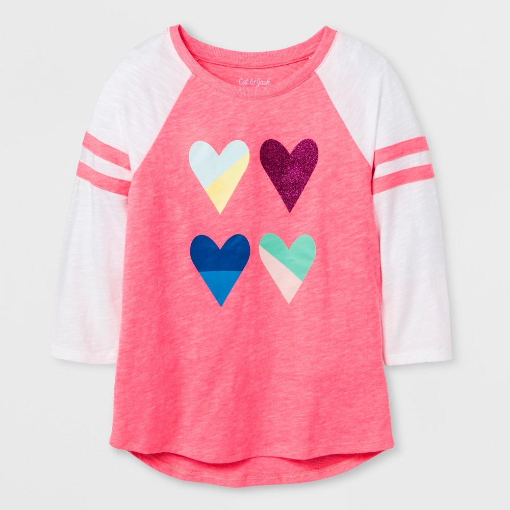 Girls' 3/4 Sleeve Baseball Heart Graphic T-Shirt - Cat & Jack Coral M, Pink