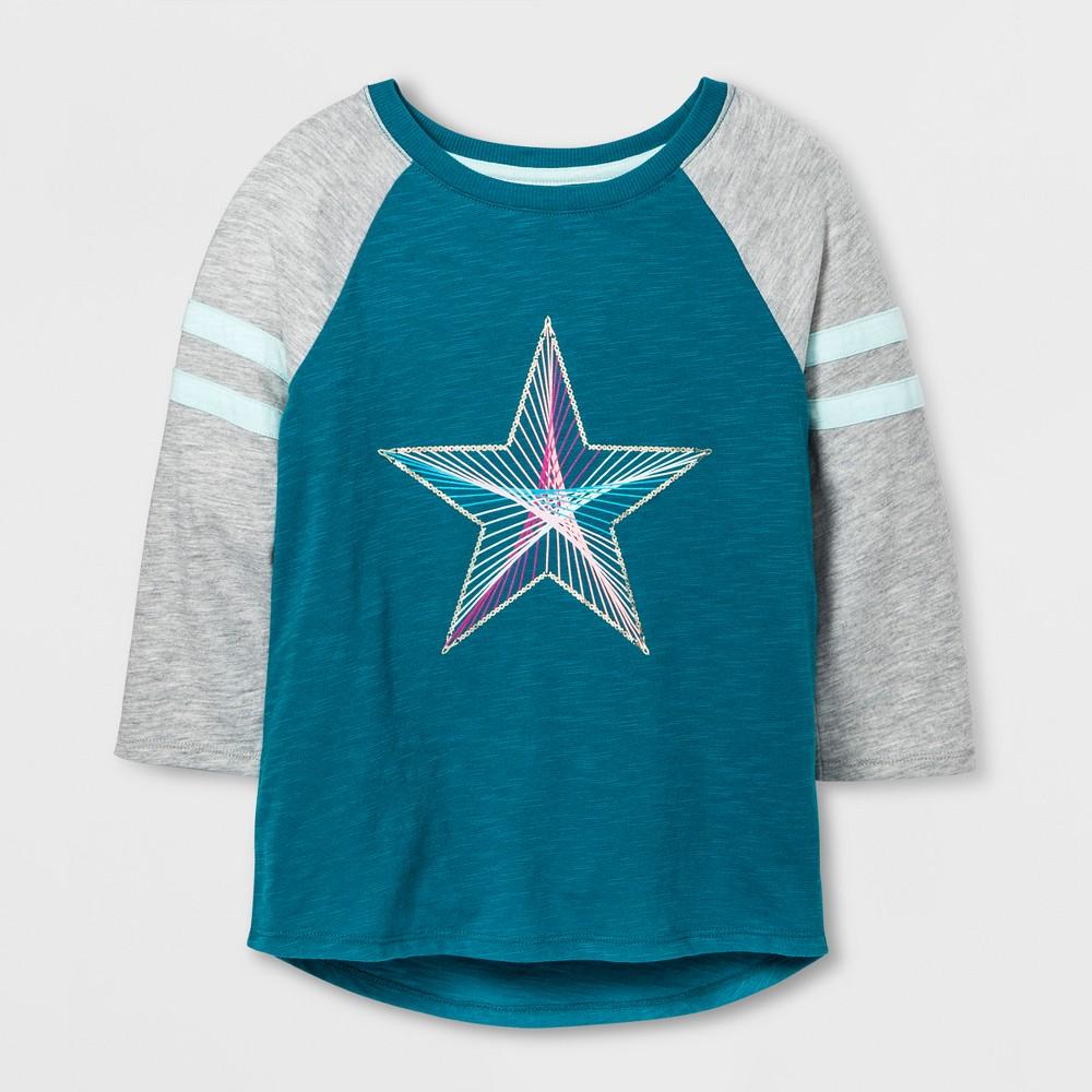 Girls Baseball Star Graphic T-Shirt - Cat & Jack Teal XL, Blue