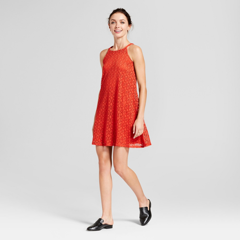 Womens Lace Trapeze Tank Dress - Lux II Rust 6, Red