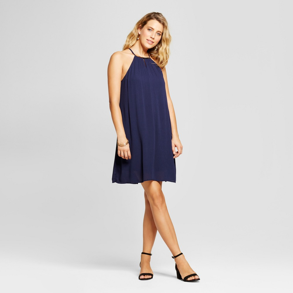 Womens Halter Neck Tank Dress with Necklace Bar - Lux II Navy 12, Blue