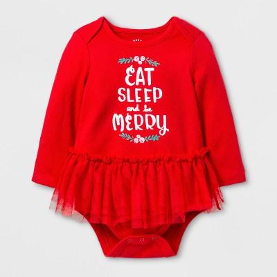 Baby Girls' Merry Tutu Bodysuit - Cat & Jack™ Red 0-3 M
