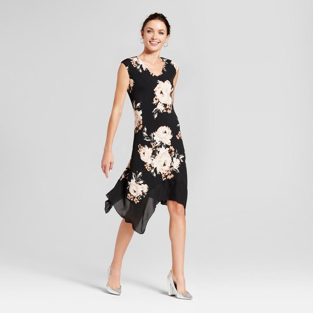 Womens Floral Printed Dress with Chiffon Hem - Lux II Black Tan 14