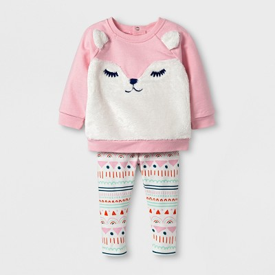 Baby Girls' Fleece Fox Sweatshirt and Leggings Set - Cat & Jack™ Pink 3-6 M