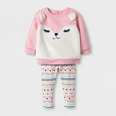 Baby Girls' Fleece Fox Sweatshirt and Leggings Set - Cat & Jack™ Pink 6-9 M