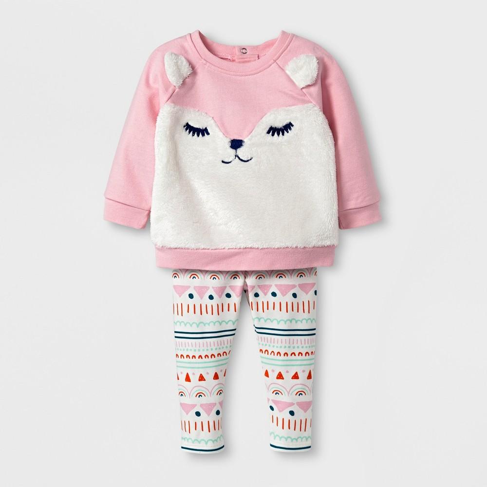 Baby Girls Fleece Fox Sweatshirt and Leggings Set - Cat & Jack Pink 6-9 M