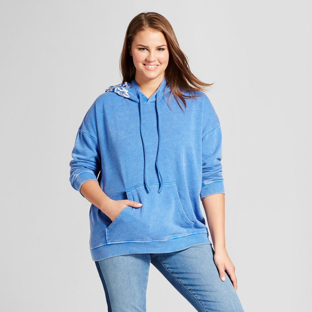 Womens Plus Size Embroidered Hoodie - Xhilaration Blue 3X