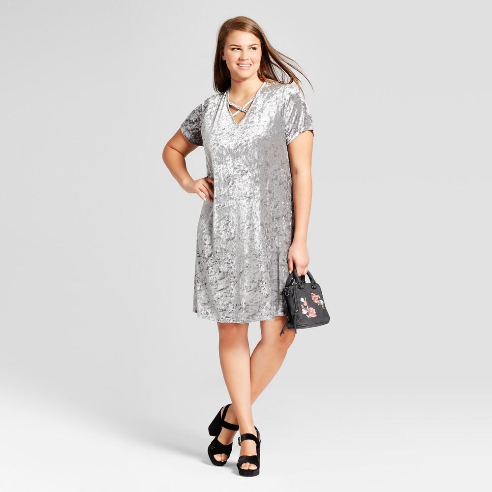 Womens Plus Size Velour Cross Front Dress - Xhilaration Silver 3X
