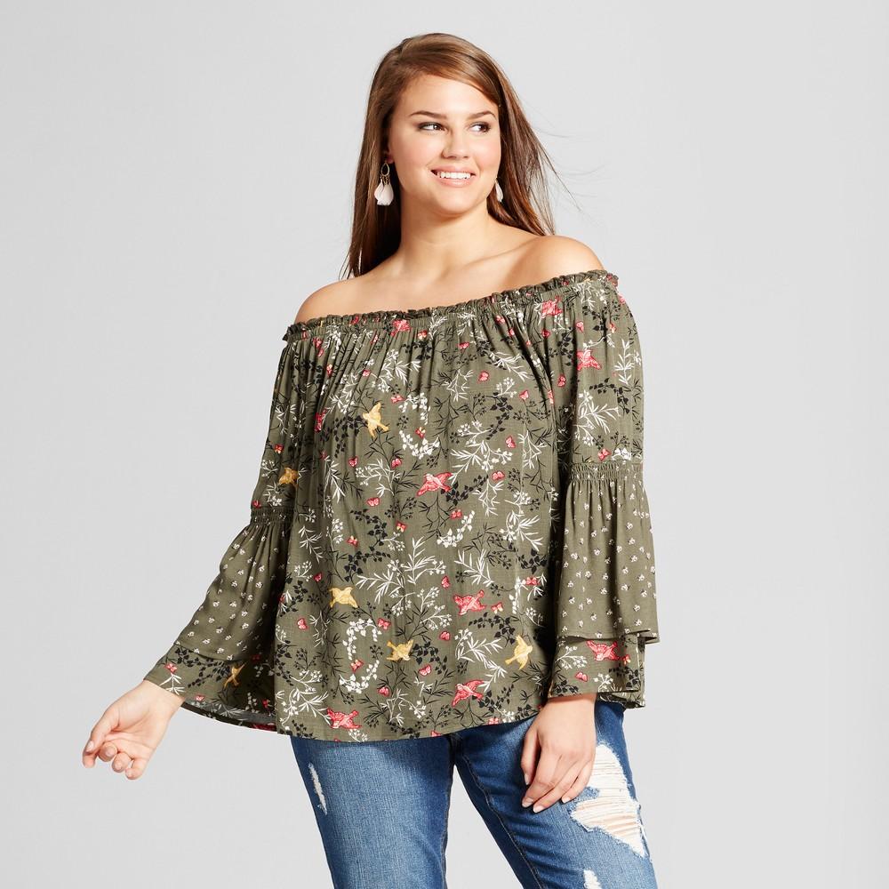 Womens Plus Size Off the Shoulder Bird Print Ruffle Sleeve Top - Xhilaration Green 4X