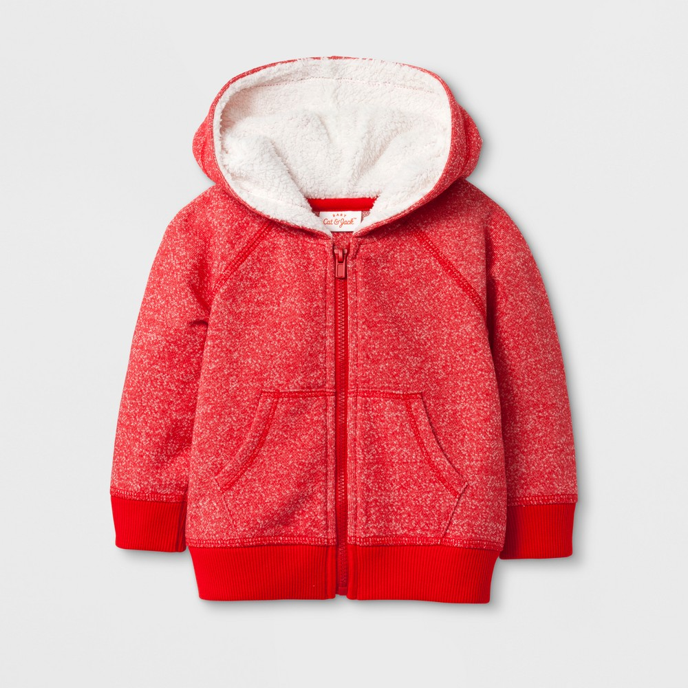 Baby Boys Cozy Hoodie - Cat & Jack Red 12 M, Size: 12 Months