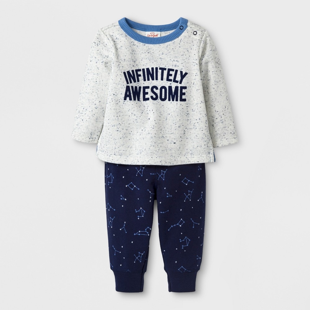 Baby Boys 2pc Pullover and Pants Set - Cat & Jack Navy 0-3 M, Blue