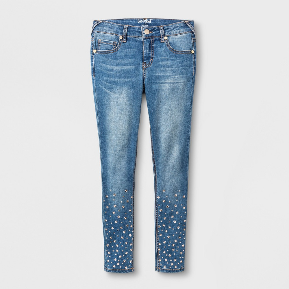 Girls Star Studded Skinny Jeans - Cat & Jack Medium Denim Wash 8, Blue