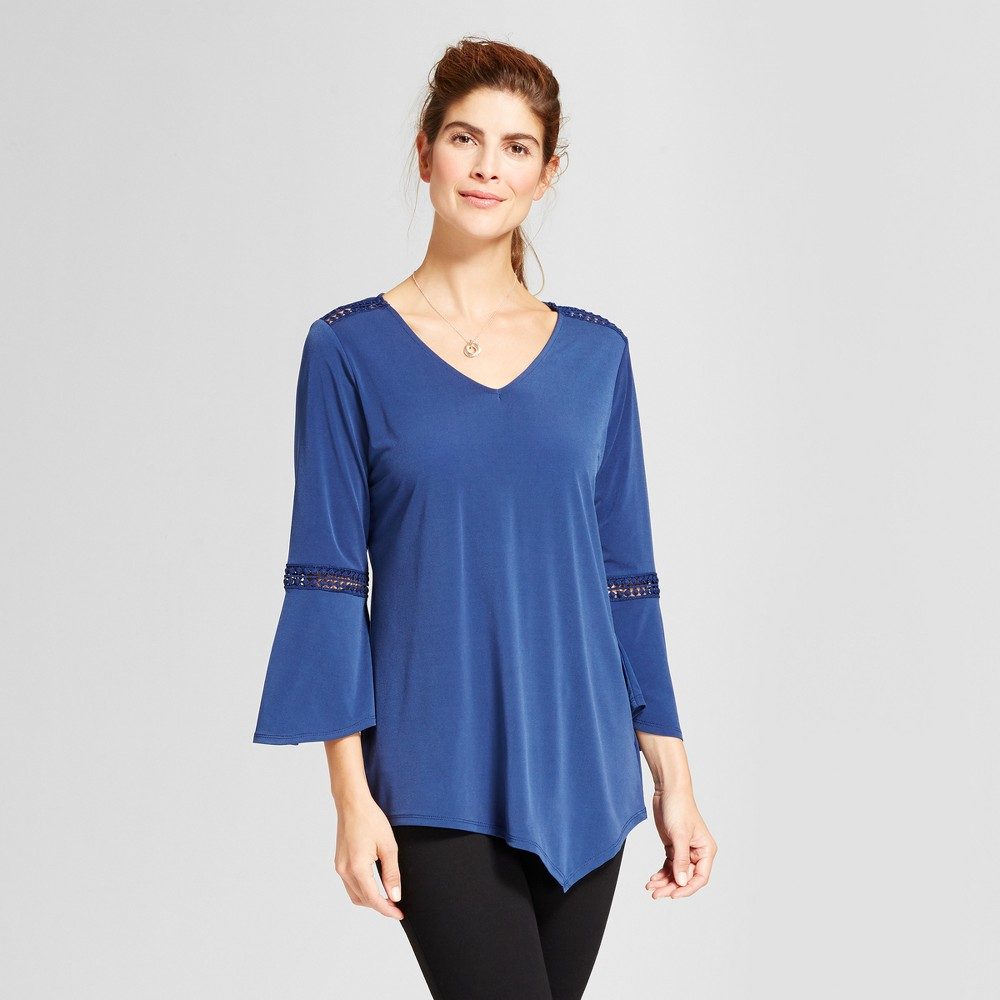 Womens V-Neck 3/4 Sleeve Knit Top with Crochet Trim - Notations Navy XS, Blue