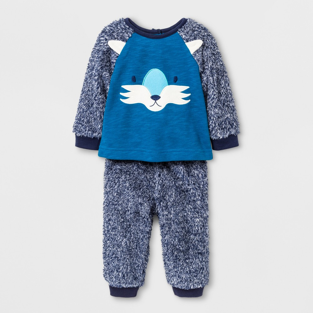 Baby Boys 2pc Wolf Face Pullover and Cozy Pants - Cat & Jack Blue 0-3 M