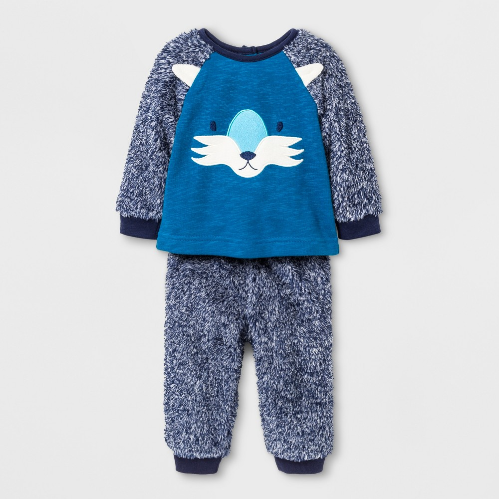 Baby Boys 2pc Wolf Face Pullover and Cozy Pants - Cat & Jack Blue 6-9 M