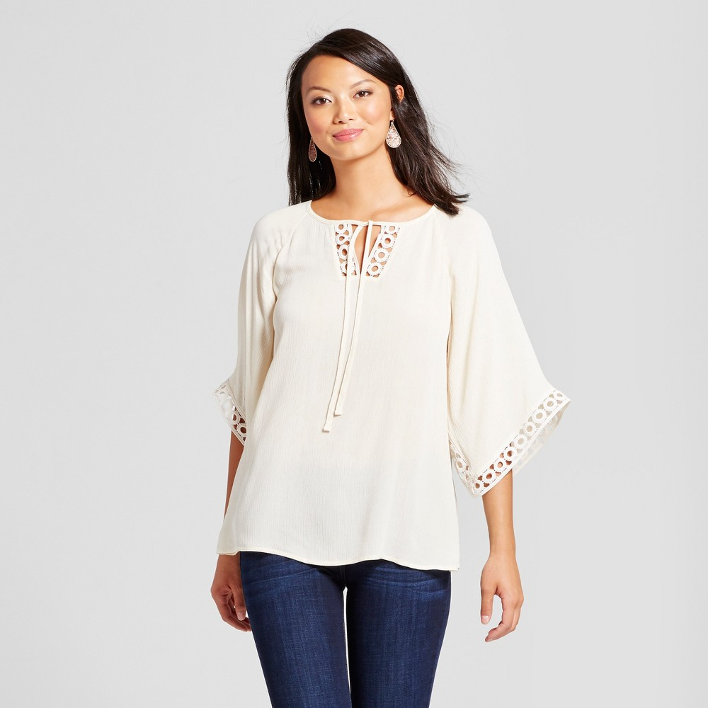Womens Crochet Trim Peasant Blouse - U-Knit - Pearl S, White