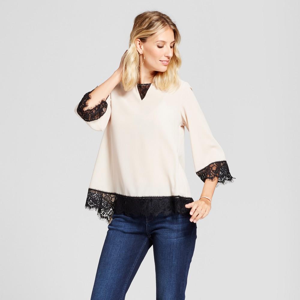 Womens Contrast Chiffon Blouse with Lace Trim - U-Knit - Pearl/Black L, Beige