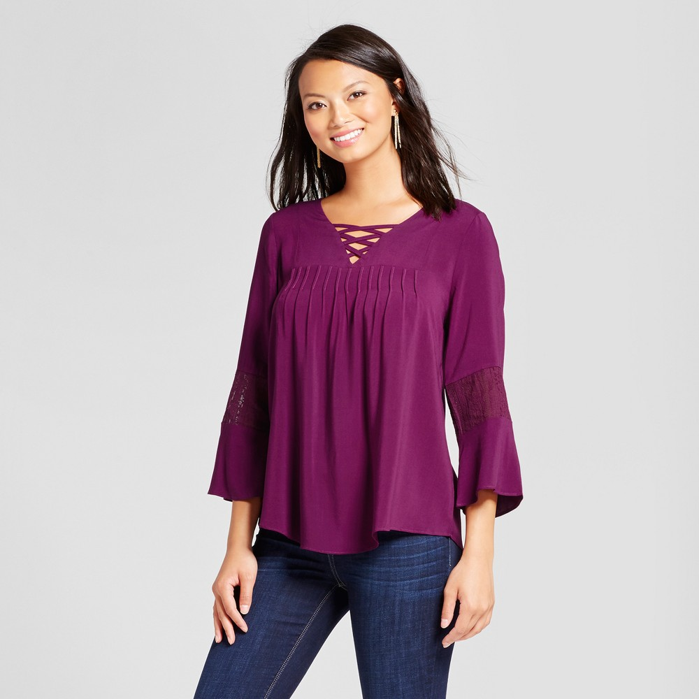 Womens Lace Back Blouse with Lattice Neck - U-Knit - Berry M, Red