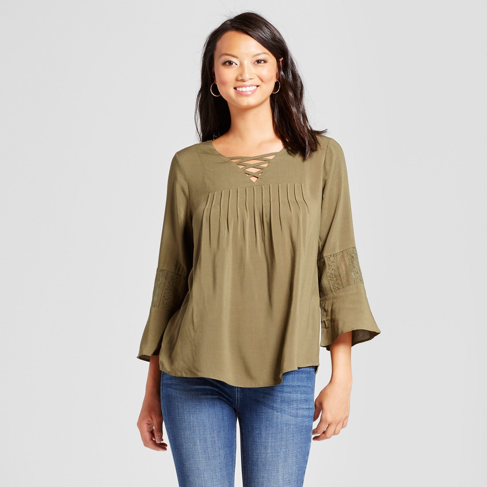 Womens Lace Back Blouse with Lattice Neck - U-Knit - Green L