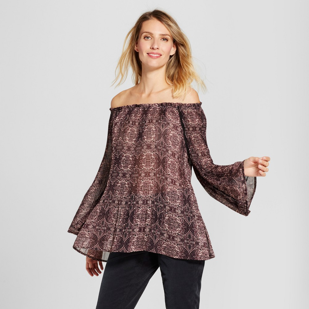 Womens Sheer Print Pleated Top - Knox Rose Burgundy L, Multicolored