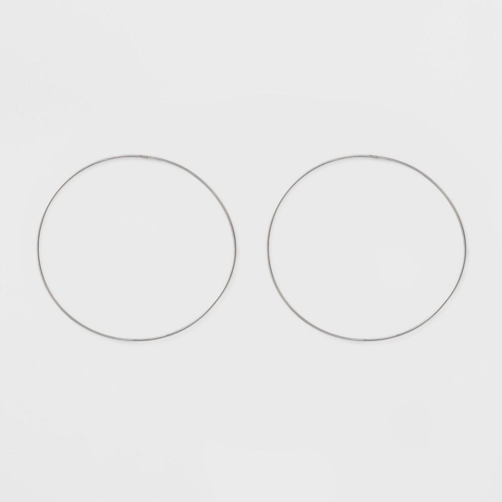 Womens Earring Delicate Large Hoop - Silver