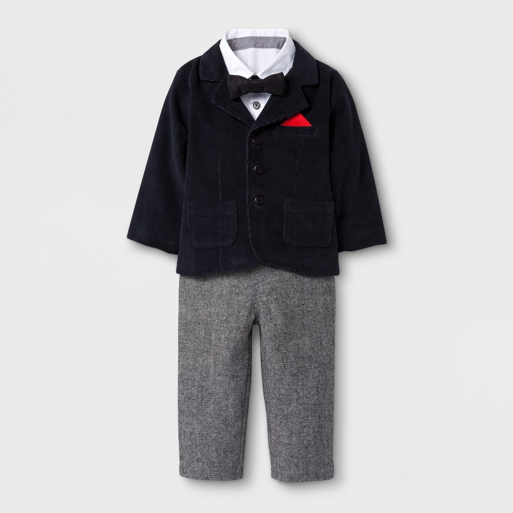 Baby Grand Signature Baby Boys 3pc Suit Set - Black NB