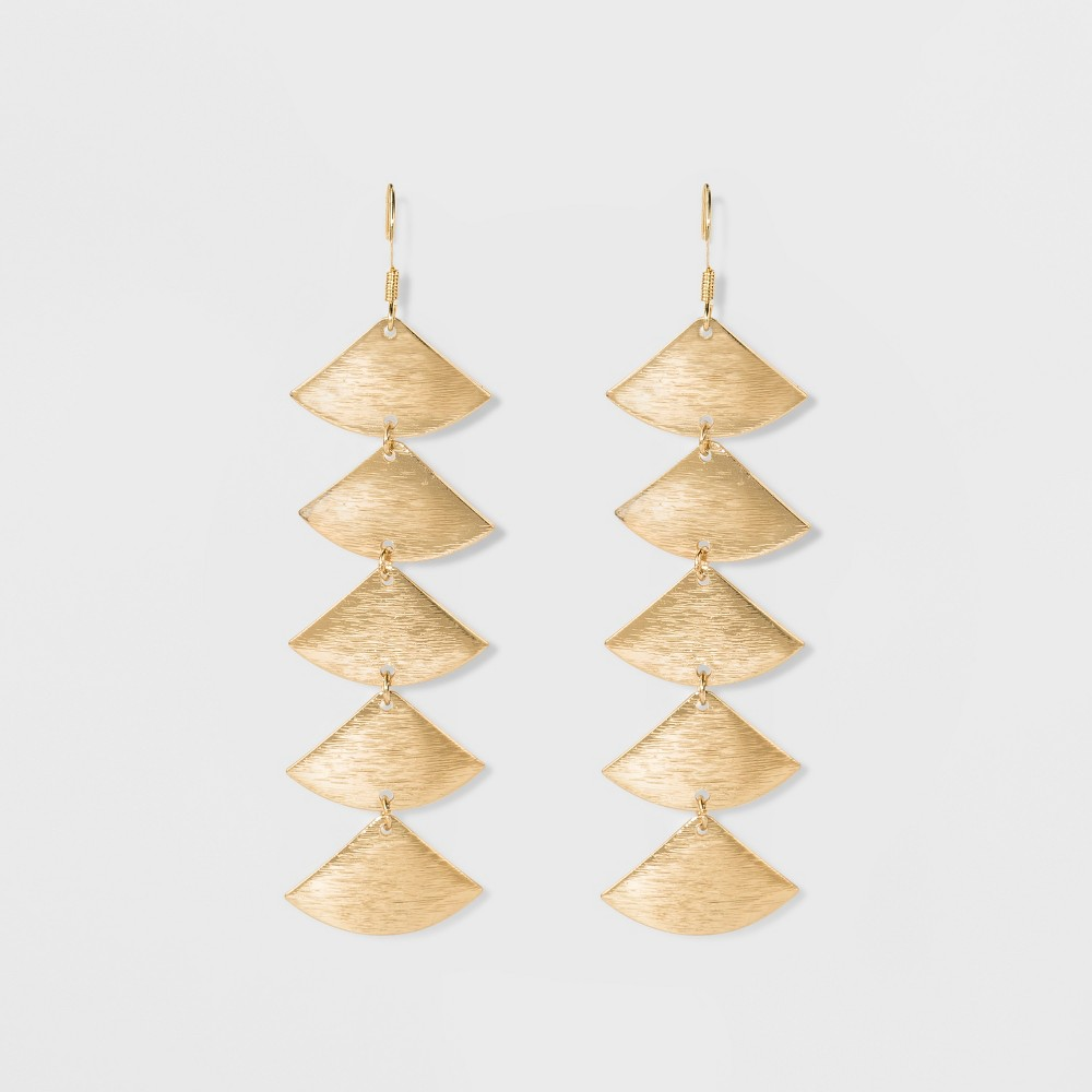 Womens Fashion Shoulder Duster Earrings - Bright Gold