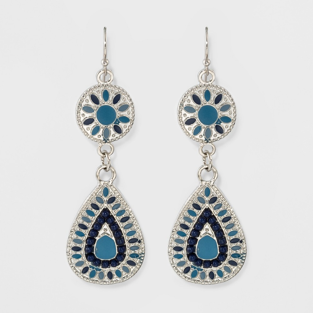 Womens Circle and Teardrop Earring - Blue