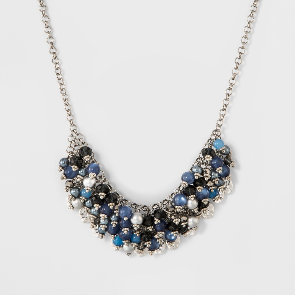 Womens Necklace Statement with Clustered Mixed Round Stones - Blue