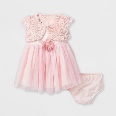 Baby Girls' Mia & Mimi Cardigan Dress - Pink 3-6 M