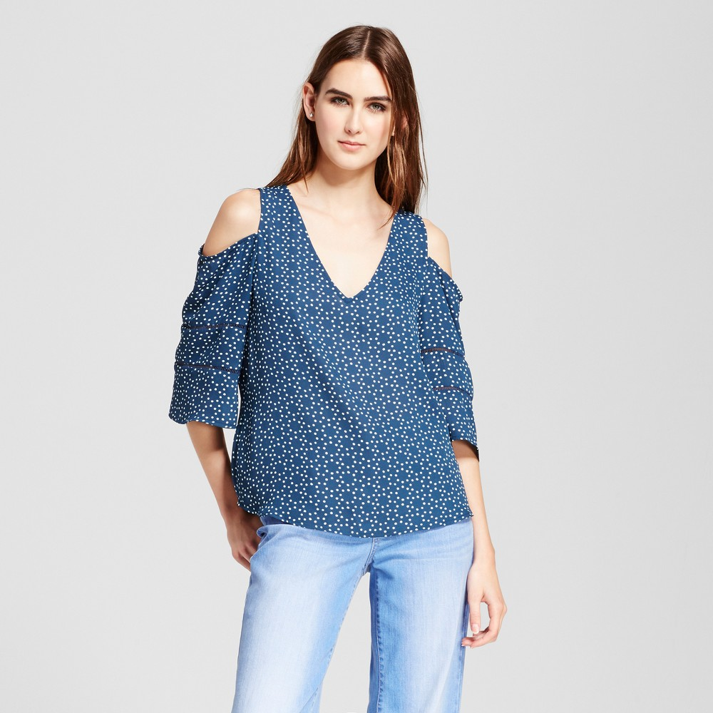 Womens Printed Cold Shoulder Top with Crochet Detail - Eclair Navy XS, Blue