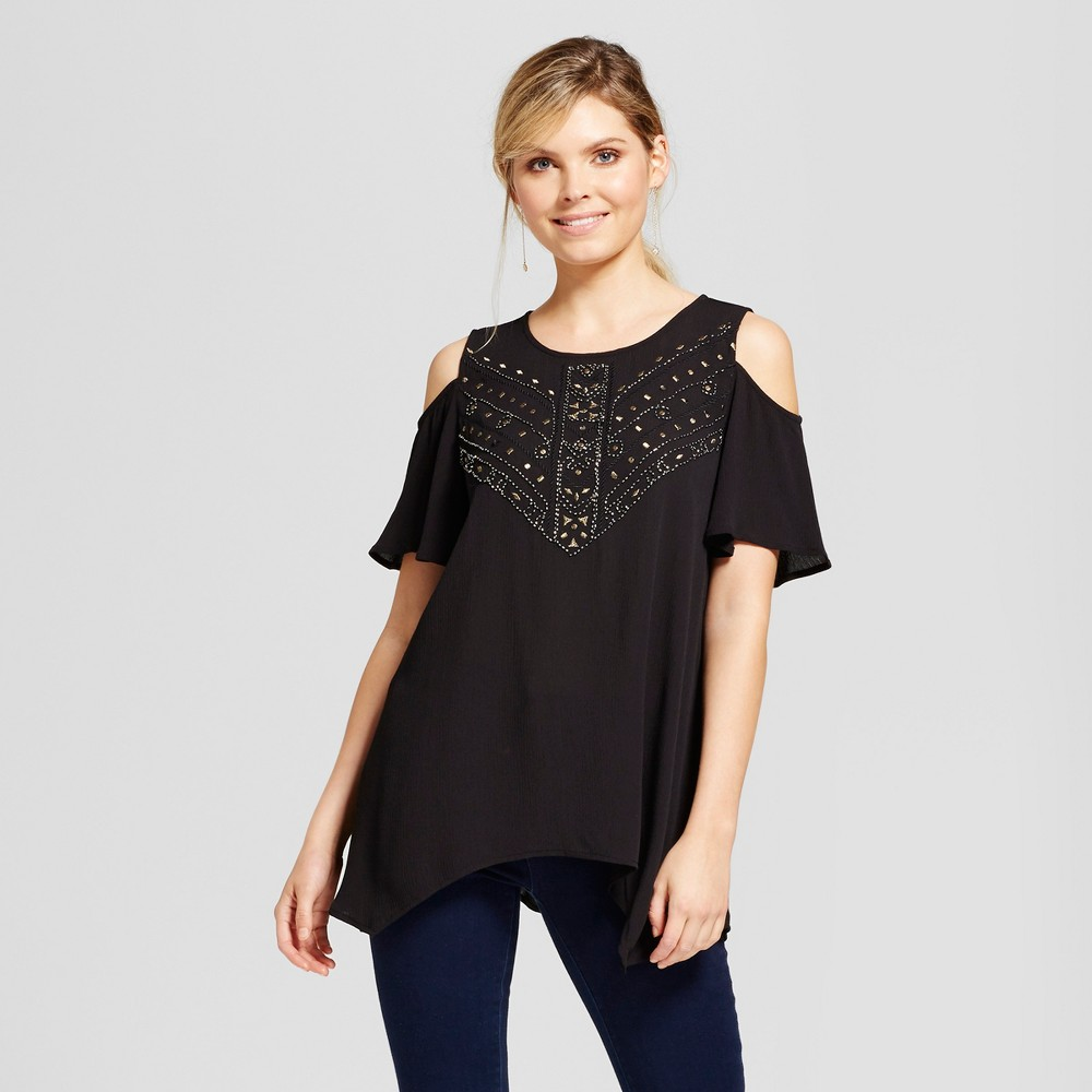 Womens Embellished Cold Shoulder Top - Knox Rose Black S