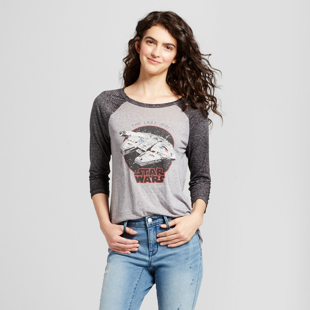 Womens Star Wars The Last Jedi 3/4 Sleeve Graphic T-Shirt (Juniors) - Charcoal XL, Gray