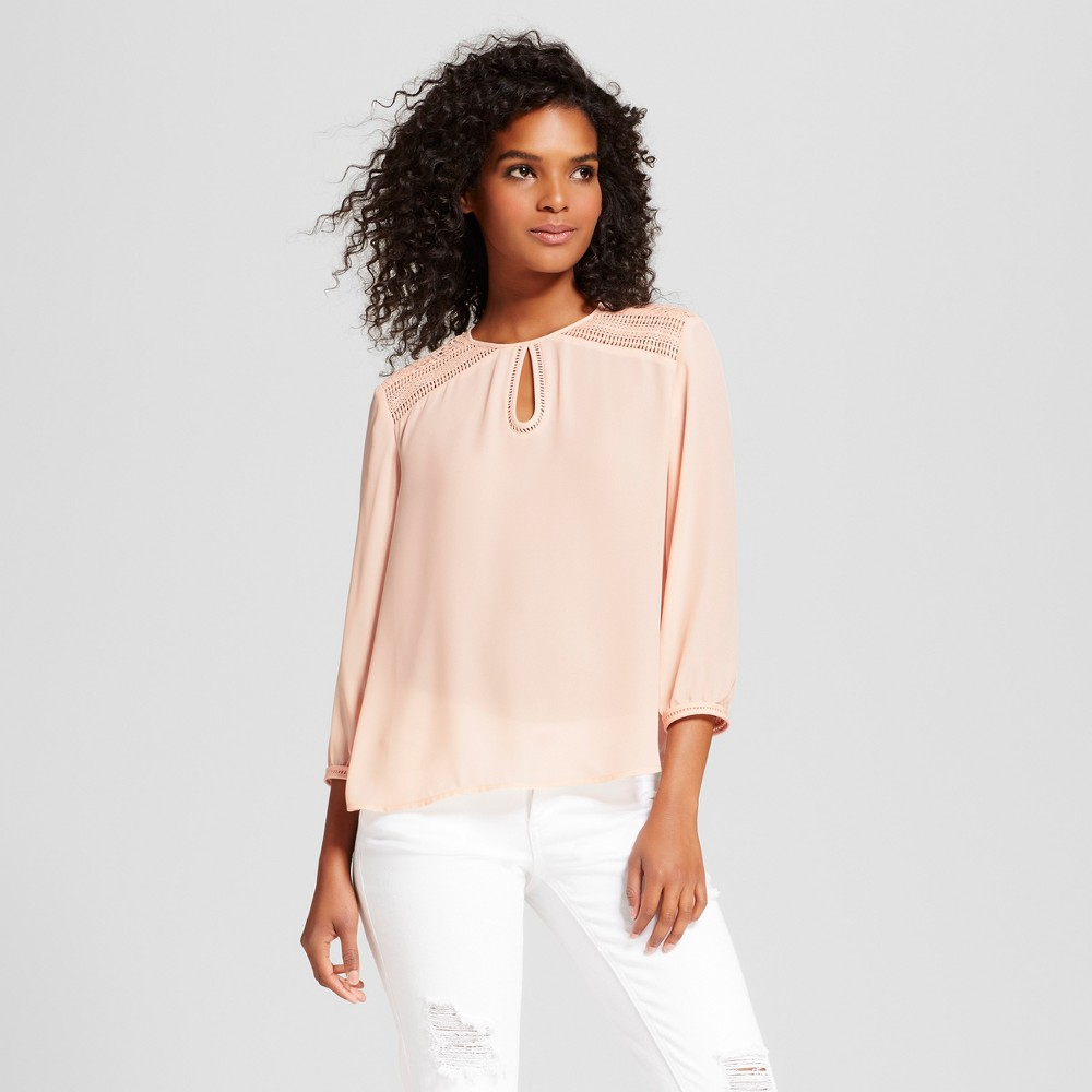 Womens Long Sleeve Lace Keyhole Blouse - Eclair Pink XS