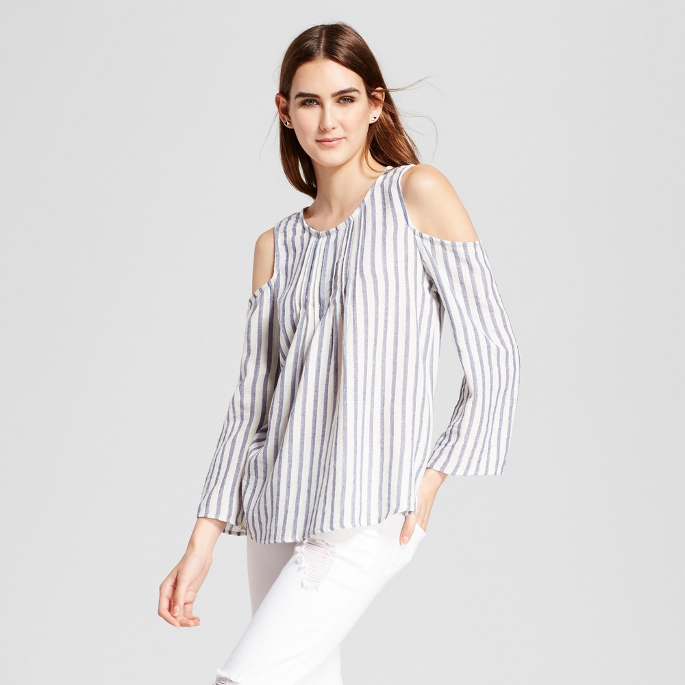 Womens Cold Shoulder Striped Top - Eclair White/Blue XS