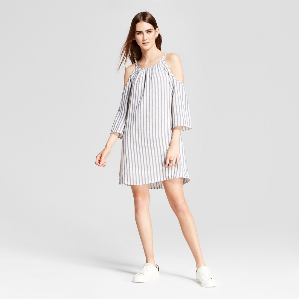 Womens Cold Shoulder Striped Shift Dress - Eclair White/Blue M