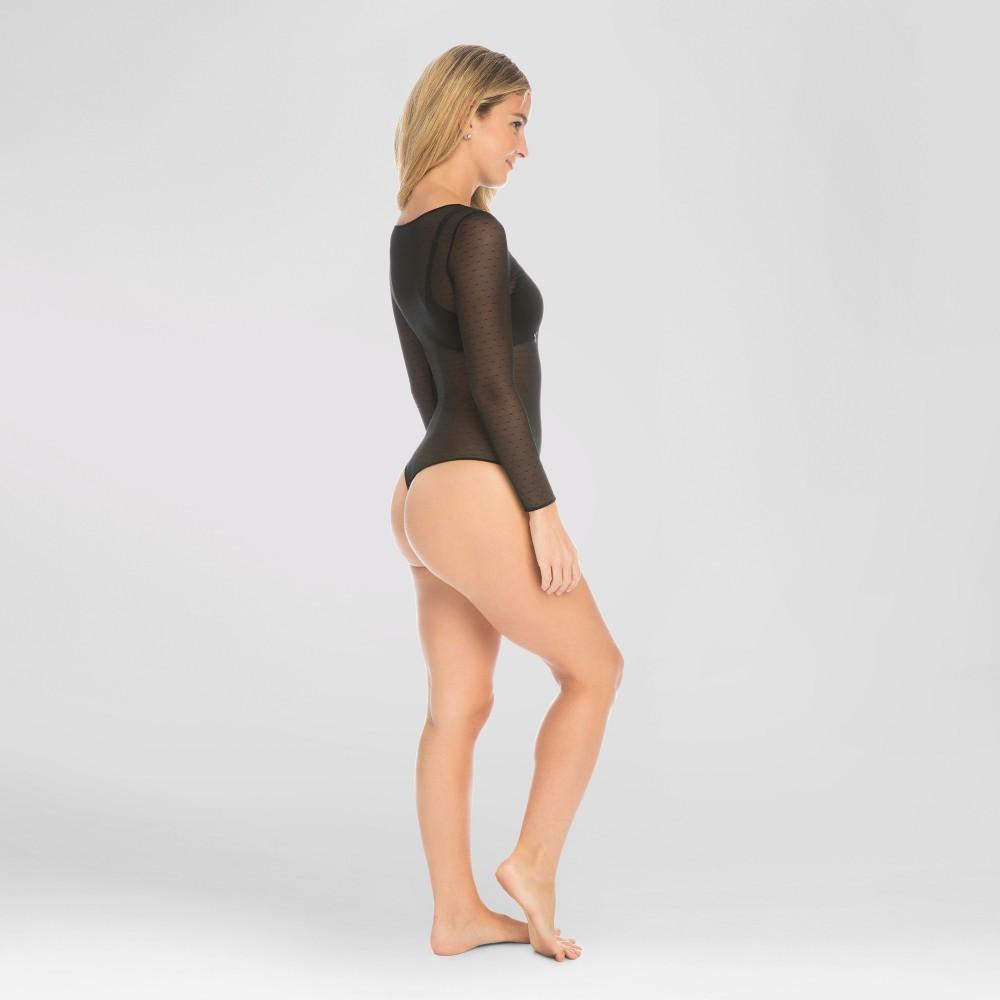 Assets by Spanx Womens Point D Esprit Body Suit - Black M