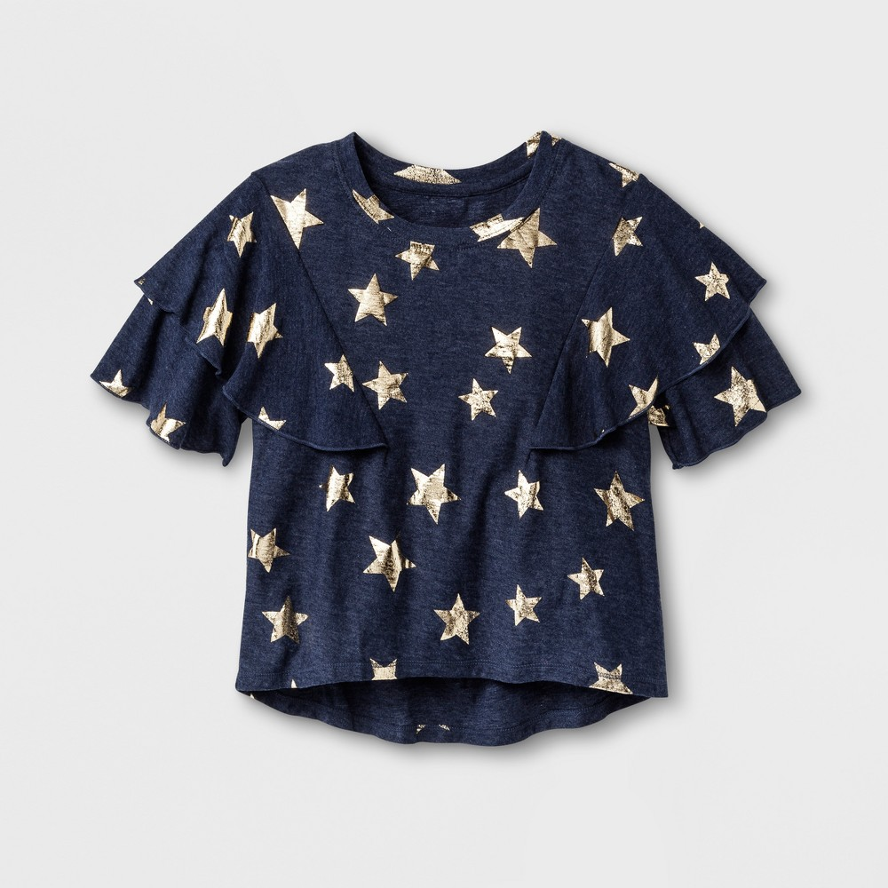 Girls Ruffle T-Shirt Art Class - Peacoat XS, Blue