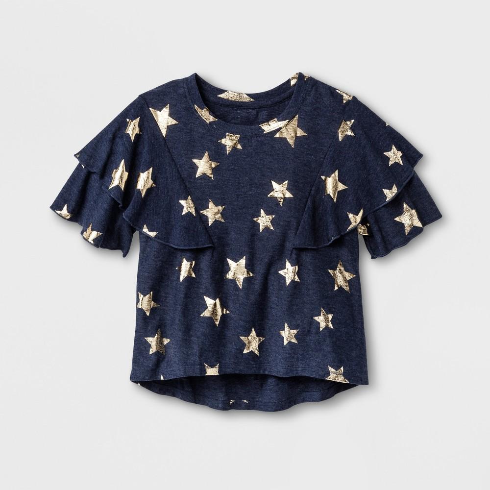 Girls Ruffle T-Shirt Art Class - Peacoat S, Blue