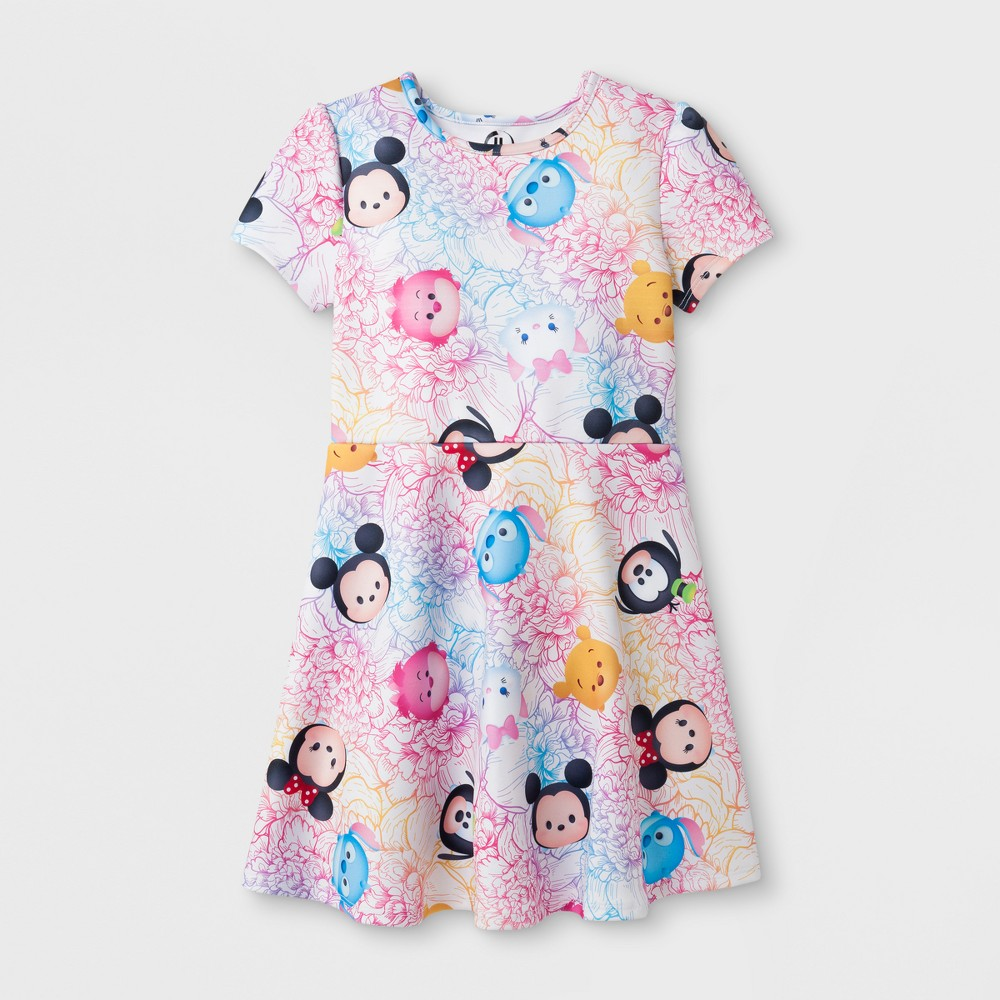 Girls Disney Characters A Line Dress - Multicolor - XL (14-16), Multicolored