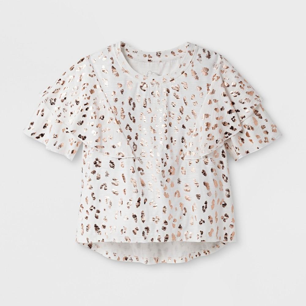 Girls Ruffle T-Shirt Art Class - Ivory M, White